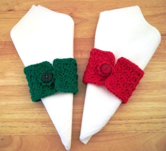 Buttoned Napkin Rings for Christmas