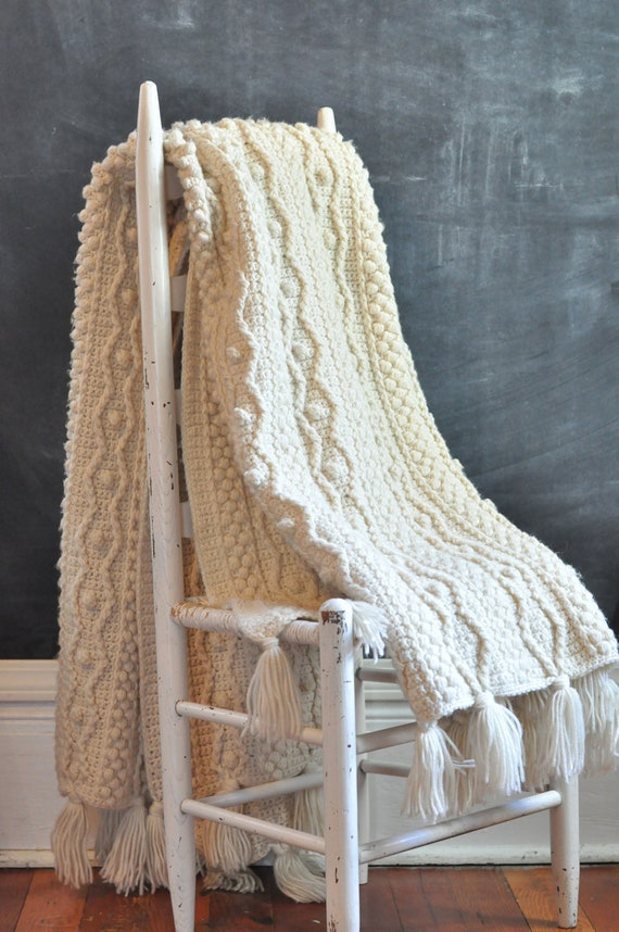 Vintage Aran Heavy Off White Afghan Blanket Rug Crochet Cable Knit