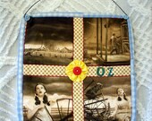 Wizard of Oz Handmade Quilt Wall hanging Movie Memorabilia Gift Idea  Dorothy Toto Kansas before Tornadoe Sepia Toned Cream Browns