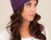 Wool Headband, Purple knit headband, winter headband, Purple Headband, Ponytail Hat