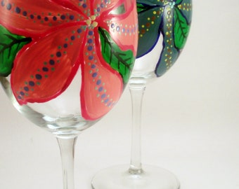 Hand painted wine glasses, large colorful bold flowers in pink and blue, painted wine glasses with flowers, set of 2 Ready to Ship
