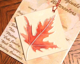 ORNAMENT Handmade JAPANESE MAPLE Leaf ceramic watercolor home decor under 25 gift includes wrap original textured design by Wisconsin artist