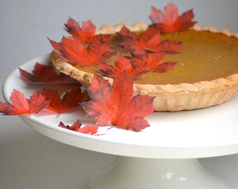 EDIBLE Maple Fall Leaves - Dark Red Burnt Orange set of 24 -Cake & Cupcake toppers - Pie Decoration