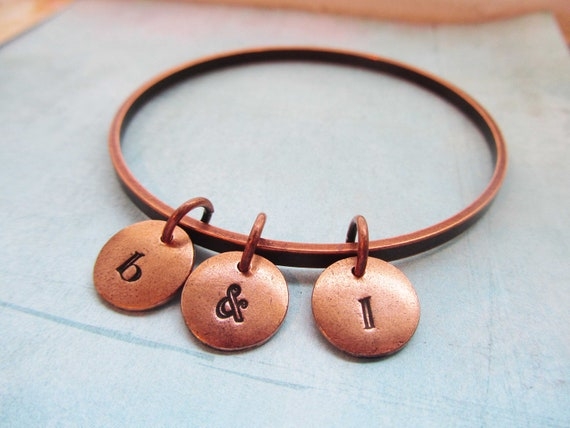 Bangle Bracelet 3 Copper Custom Engrave - Banded Together - Initals Date Letters Numbers Child Mother
