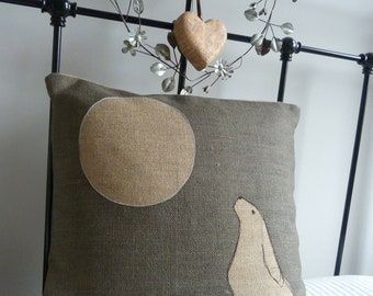Hand printed large moon gazing hare cushion cover