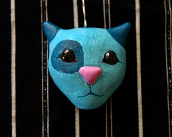 cute turquoise kitty with glass eyes pendant - handmade ooak