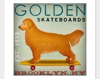 CUSTOM Golden Retriever Longboards Skateboards  -  Archival Print Signed