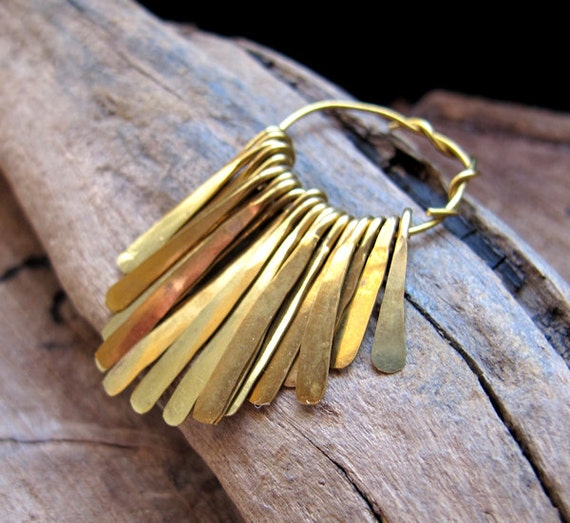 Hammered Brass Paddle Set - Stick Pendant Charm Pins - Necklace Making Findings - handmade bars