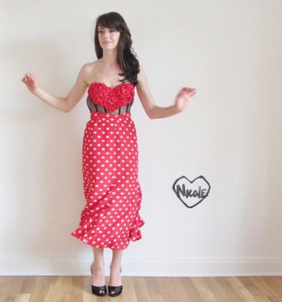 minnie swing skirt . red white polka dots .medium.large .sale s a l e