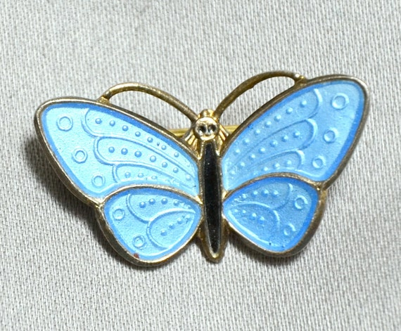 AKSEL HOLMSEN  Modernist NORWAY Sterling Enamel Butterfly Pin - Vermeil - Baby Blue