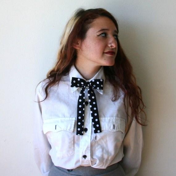 Western Bow Tie Black Polka Dot