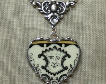 Broken China Jewelry  Staffordshire Renaissance Fanciful Face Heart Pendant Necklace