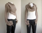 Hand Knit Milky Brown Wrap Bolero Shrug Over Size / Scarf / Shawl / Neckwarmer / Gift For Women