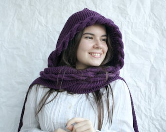 Purple Wool Hooded Cabled  Long Scarf  Cowl Christmas gift Under USD100 gift for her