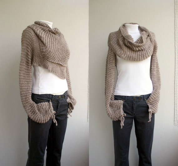 Hand Knit Milky Brown Wrap Bolero Shrug Over Size / Scarf / Shawl / Neckwarmer / Gift For Women / Mother's day Gift
