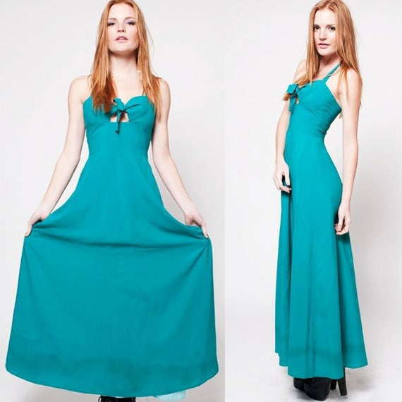 70s Turquoise Bow Maxi Dress