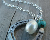 Equestrian Lucky Cowgirl Necklace - Pearl Edition - Horseshoe Horse Lovers Country Western Equestrian Riders Good Luck Charm Necklace