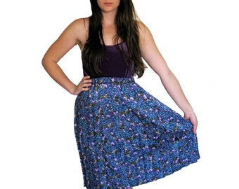 Rosebud Pleated Skirt, Patterned Polka Dots, Midi Calf Skirt, XS, SMALL