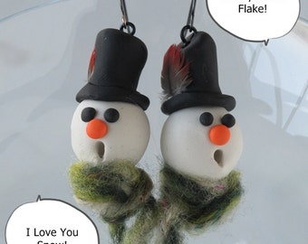 Christmas Earrings, Snowman, Earrings, Christmas Jewelry, Polymer Clay, Novelty, Geekery, Holiday Earrings, Funny, Cute