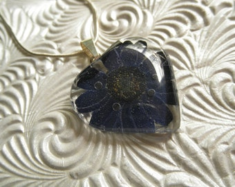 Midnight Blue Daisy Real Pressed Flower Glass Heart Pendant-Symbolizes Loyalty-Innocence-A Loyal Heart-Gifts Under 25-Nature's Wearable Art