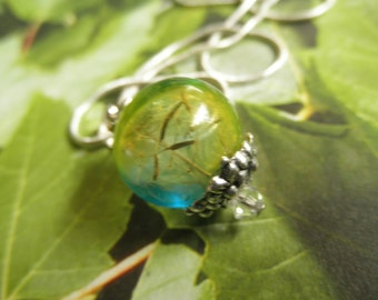Dandelion Seed Ombre Blue-Yellow Reliquary Terrarium Pendant-Sunshine & Blue Skies-Nature's Art-Symbolizes Happiness,Gifts Under 30