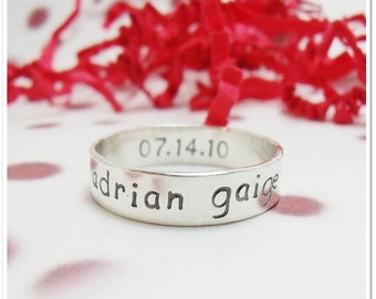 Personalized Ring - Sterling Silver Hand Stamped Ring - 6mm Custom Band