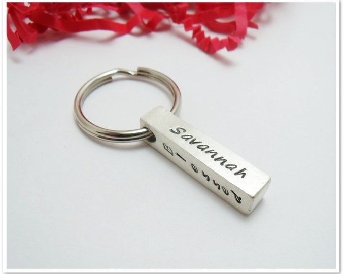 Featured listing image: Personalized 4 Sided Bar Keychain - Hand Stamped Sterling Silver- Fathers Day - Gifts for Dad