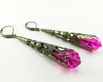 Long Dangle Hot Pink Earrings Brass Jewelry Filigree Earrings