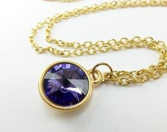 Gold Purple Necklace Crystal Rivoli Gold Jewelry Purple Crystal Necklace Gold Necklace Modern Minimalist