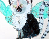 Wish I could fly Lemur - Original Paper painting - by Stacy Novak