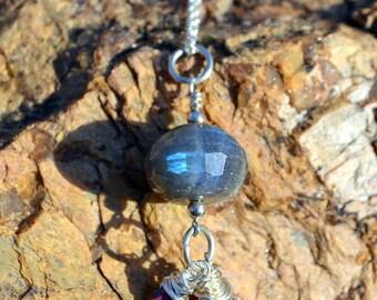 Labradorite and garnet sterling silver necklace, garnet jewelry