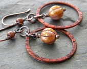 Golden Pink Beige Copper Circle Link Earrings Chestnut Brown Patina Iridescent Glass Melon Bead  Artisan Bohemian Jewelry