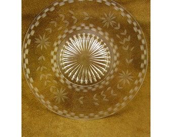 Flower Etched Clear Glass Vintage Serving Plate - Serving Platter