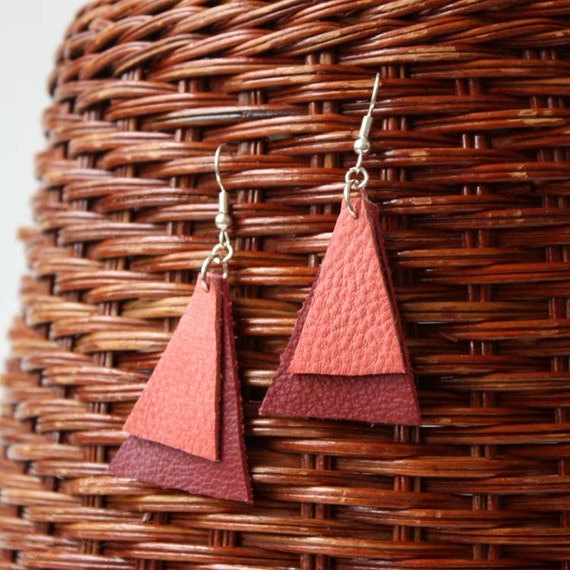 SALE Leather Earrings in Peach and Red - Handmade Triangle Earrings 20% OFF