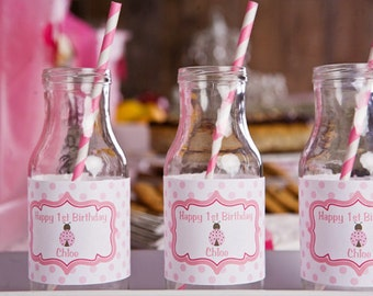 Ladybug Themed Water Bottle Labels - Ladybug Birthday Party Decorations in Hot & Light Pink (12)