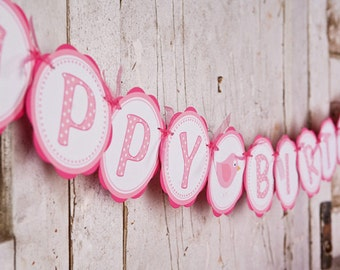 HAPPY BIRTHDAY Banner - Birdie Light & Hot Pink Themed Party Decorations - Girl Party Decorations