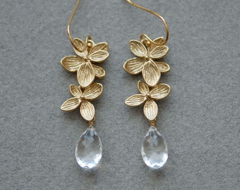 dangling earrings, Gold earrings, Long gold earrings, Crystal quartz earrings, Rock crystal earrings, Quartz earrings, Gold bridal earrings