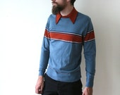 Vintage 70s Mens Preppy Boy Autumn Sweater