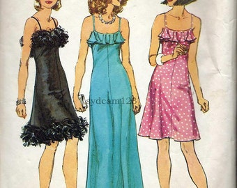Vintage Pattern 1974 Cocktail or Evening Dress Ruffle or Feather Trim 1970s Simplicity 6345 Bust 32.5