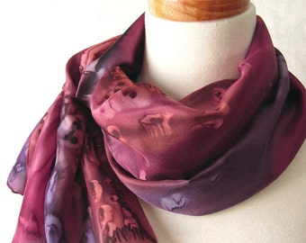 Hand Painted Silk Scarf in Brown, Plum and Burgundy