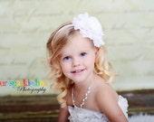 White Flower Headband, Jumbo Chiffon Rose Headband or Hair Clip, The Emma, Baptism, Christening, Flower Girl, Baby Child Girls Headband