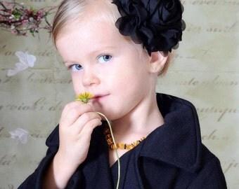 Black Flower Headband, Black Jumbo Chiffon Rose Flower Stretchy Headband or Hair Clip, The Emma, Baby Toddler Girls Headband