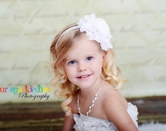 White Flower Headband, Jumbo Chiffon Rose Headband or Hair Clip, The Emma, Baptism, Christening, Flower Girl, Baby Child Girls Headband