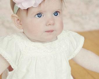 Baby Pink Rhinestone Silk & Organza Flower w/ Mint Green Stretchy Headband or Hair Clip, The Mia, Infant Toddler Child Girls Headband