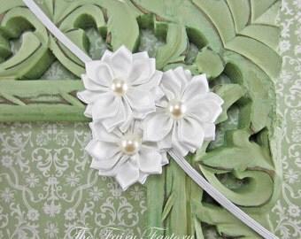 White Flower Headband, Snow White Flower Trio w/ Pearls Headband, The Emily, Baptism, Christening, Wedding, Baby Toddler Child Headband