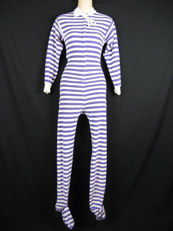 1970 S Terry Drop Seat Pajamas Purple And White Union