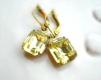 Jonquil Yellow Drop Earrings Vintage Jewels Dangle Brass Earrings Vintage Yellow Rhinestone Jewelry Earrings Gift For Her Under 25
