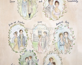 Major Works of Jane Austen.  11x14 Art  Print.  Pride and Prejudice. Persuasion.Emma.Northanger Abbey. Mansfield Park