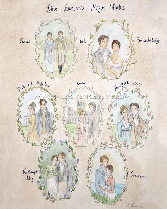 Major Works of Jane Austen.  11x14 Art  Print.  Pride and Prejudice. Persuasion.Emma.Northanger Abbey. Mansfield Park