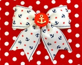 Vintage Sailor Doll Anchors and Stars Hair Bow - Ivory